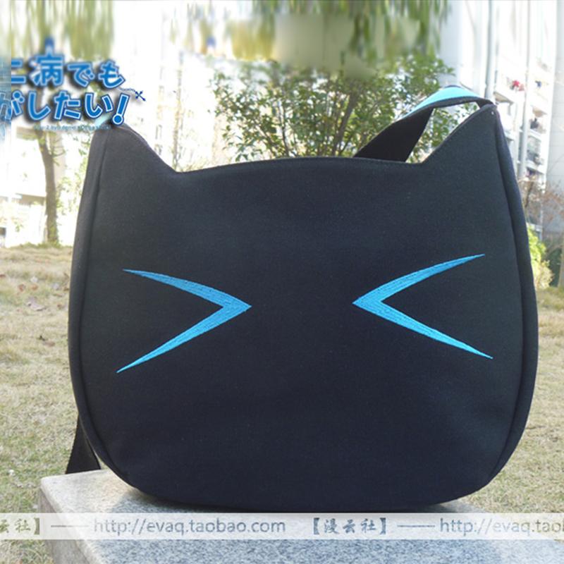 Anime Chuunibyou Demo Koi ga Shitai! Shichimiya Satone Cafe Kichijoude Cat Cosplay Shoulder Bag Canvas School Messenger Bags(China (Mainland))