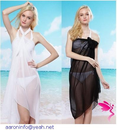 women summer White Chiffon Beach Dress Sheer Sarong Cover Bikini Wrap Black beachwear saida de praia - G & C store