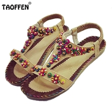 Buy Sexy Lady Flat Sandals Open Toe Beading Sandal Elastic Summer Shoe Women Flower Beach Vacation Party Leisure Footwear Size 36-40 for $12.86 in AliExpress store