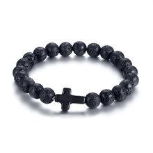 Vnox energia vulcânica lava pedra preto cruz vermelha charme pulseiras para mulheres homens yoga contas casal jóias estiramento pulseira(China)