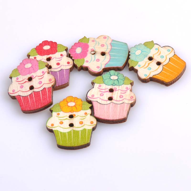 Buy 100pcs 25x30mm cake painted wooden for Decorative pins for crafts