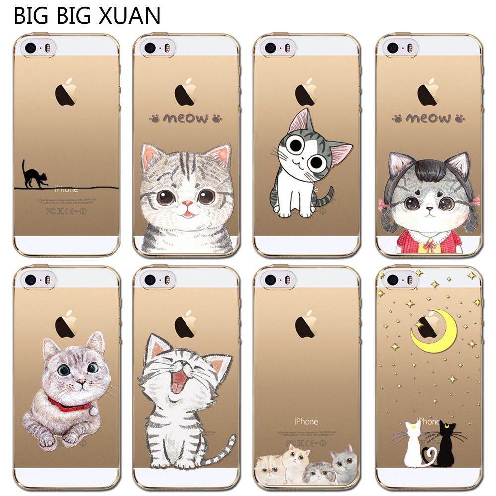 Cute Cat Pattern Case Cover For Apple iPhone 5C Transparent Soft Silicone Cell Phone Cases(China (Mainland))
