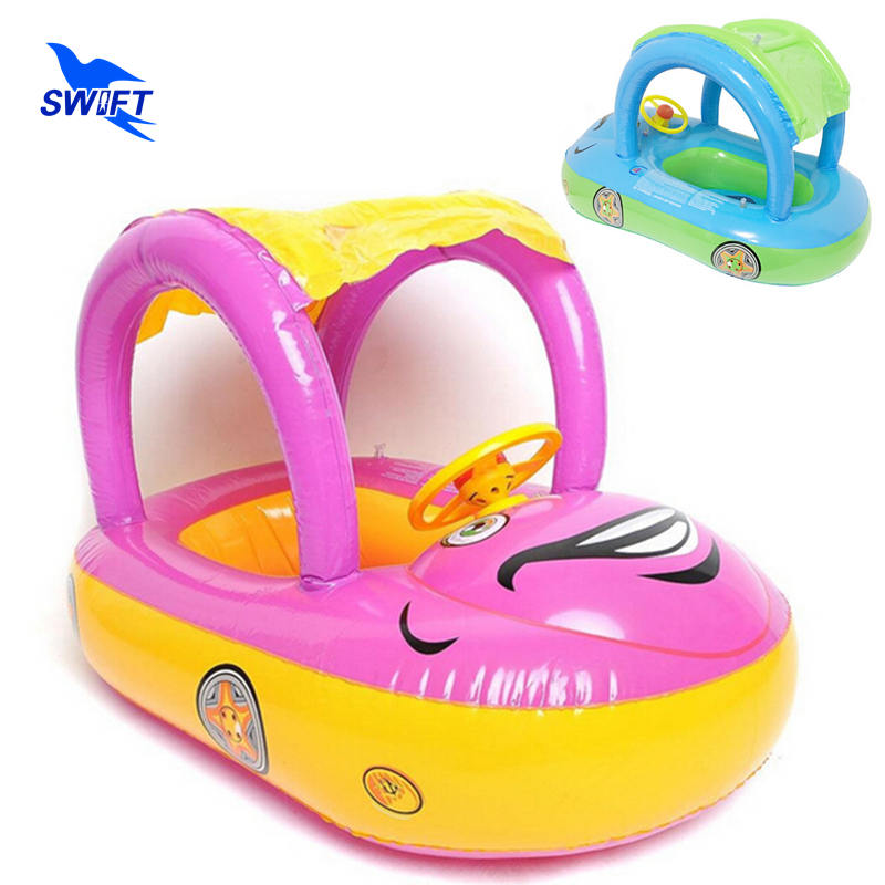 ABC Brand Health PVC Sunshade Infant Baby Float Seat Boat 2016 New Inflatable Kids Water Pool Toys Cheap Swimming Ring Swim Laps(China (Mainland))