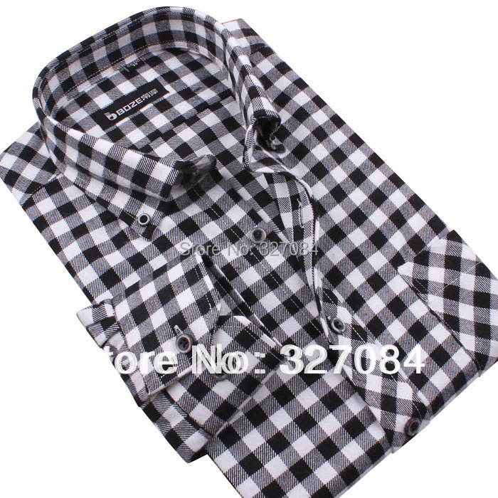 2015 New Formal Mens Button Down Shirt Black And White