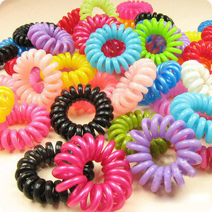 6415 10pcs/lot Telephone Wire Line Cord Invisi Bobble Traceless Gum for Hair Ties Women Girl Elastic Hair Bands Hair Scrunchies(China (Mainland))