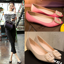 2015 Spring Fashion Office Ladies Pink Black Silver Nude Flats Satin Low Heels Pointed Toe Pearl Shoes With Buckles New Arrival(China (Mainland))