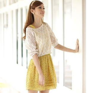 2014 spring lace crochet knitted twinset tank dress one-piece dress(China (Mainland))