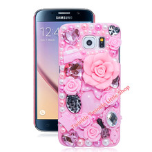 Fashion Flower Crystal Plastic Case For Samsung Galaxy S7 edge S6 S4 S5 S6 edge S7 Note Cover Phone Cases Accessories Protector(China (Mainland))