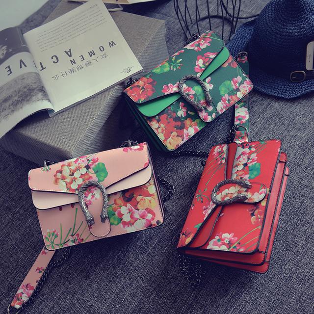 2016 Горячей популярные мода классические цветы нанесени цепь сумка сумка женская сумки щитка повседневная сумки 8 цветов