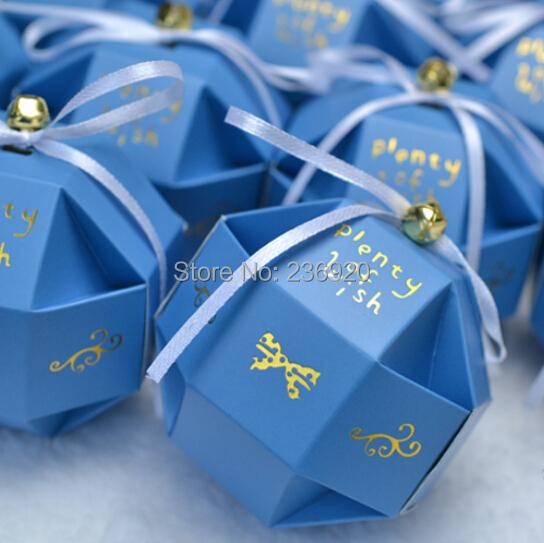 100pcs/lot Deep Blue Beautiful Wedding Ball Candy Box Unique Gift Box +Ribbon + Bell Plenty Wish Gift  Box Event Party Supplies(China (Mainland))