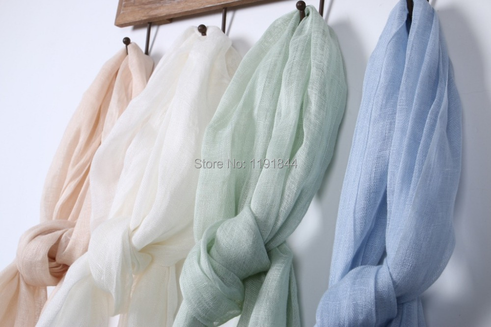 180*55cm +2x10cm fringe 2016 high quality natural linen 36N french linen Scarf Large size solid colors unisex white beige blue(China (Mainland))