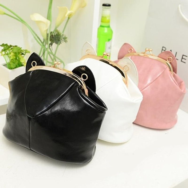 2015 Women Messenger Bags Crossbody Bags For Women Cat Ears Shoulder Bag Black Bag Animal Small Handbag(China (Mainland))