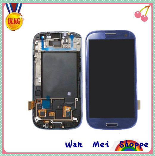 Bule LCD Display Glass Touch Screen Digitizer Frame Assembly For Samsung Galaxy S3 i9300(China (Mainland))
