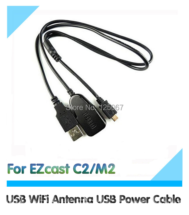 USB WiFi Antenna USB Power Cable for EZCast C2 / M2 / vsmart v5ii Wireless netcard Two in one WiFi USB Cable(China (Mainland))