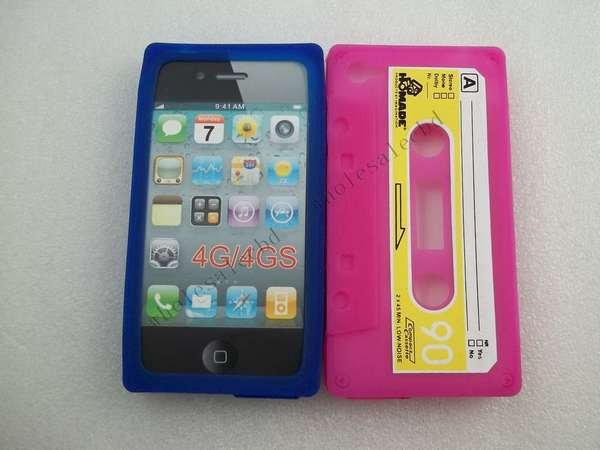 100pcs/lot Silicone Video Tape Cassette Case Archaize silicone Tape Skin Cases cover For iphone 4G 4S(China (Mainland))