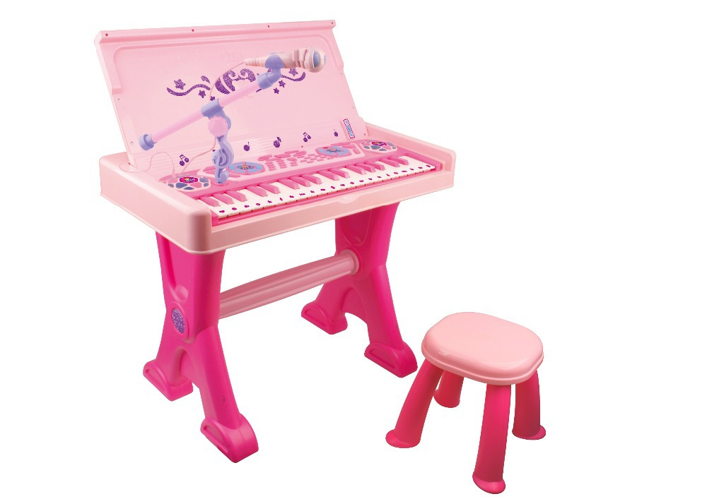 Free Shipping Musical Kids Keyboard Baby Grand Piano in Pink Sing Along Keyboard Musical Piano Toy Set with Stool(China (Mainland))