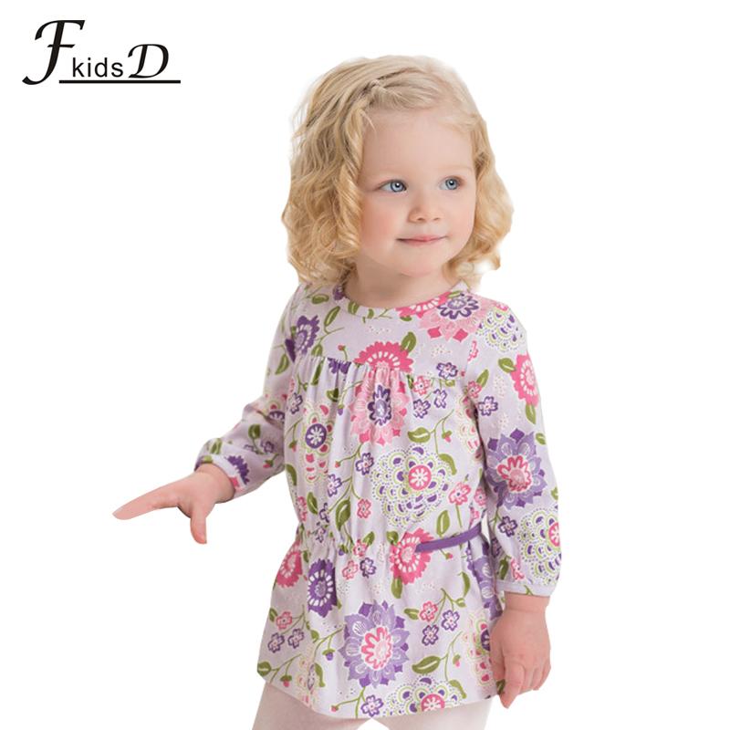2015 F-kids 100% organic cotton baby girl England Style three quarter dress.child o-neck dress.baby girl clothes autumn-spring(China (Mainland))