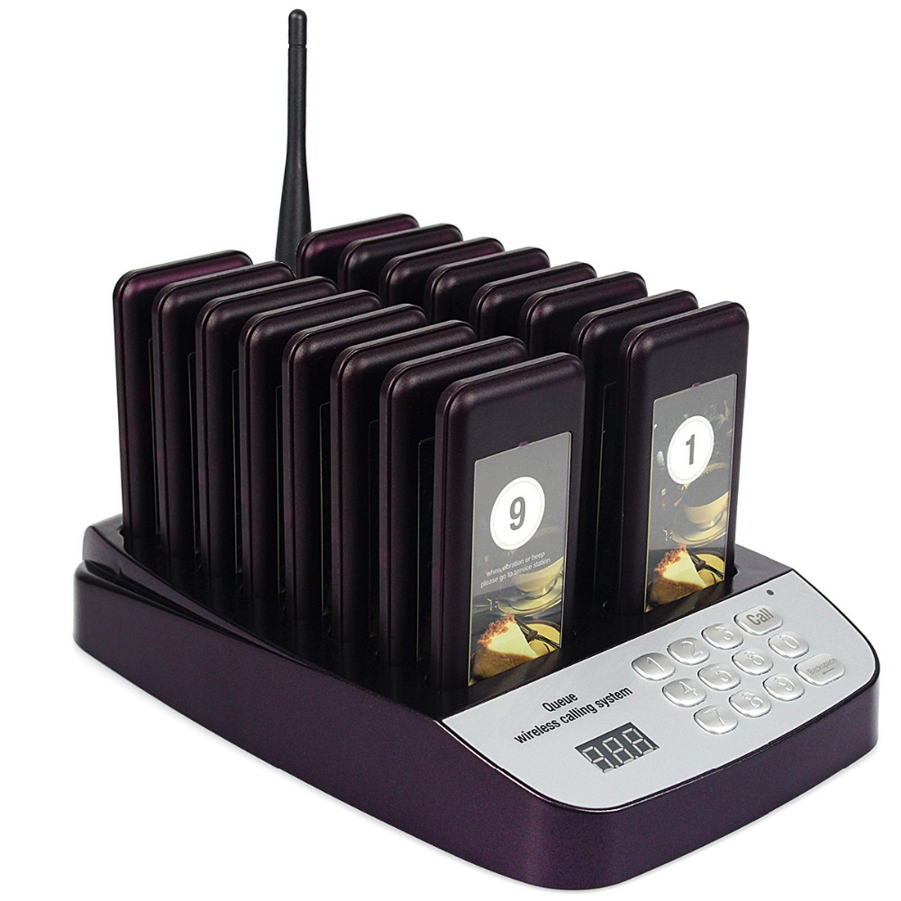 999 Channel Restaurant Pager Guest Wireless Paging Queuing System 16 Call Coaster Pagers Calling F4417D(China (Mainland))