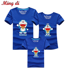 Ming Di Mother & Kids Family Matching Outfits T-shirt Clothes For Dad Mon Daughter and Son Cartoon Summer Top Short Clothing(China (Mainland))