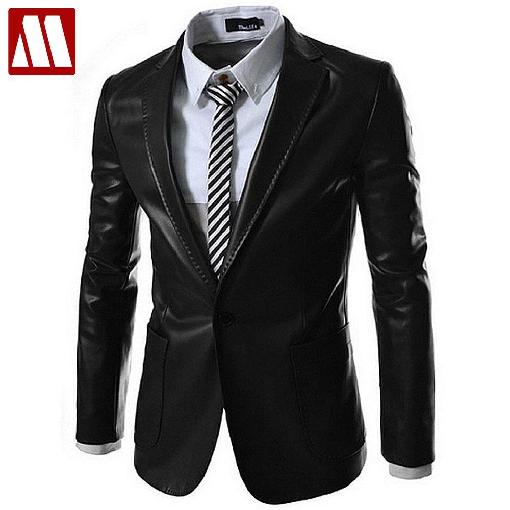 2016 New style fashion mens leather jacket brand leather blazers men slim fit suit jacket ,men's clothing Asia S-XXL E015(China (Mainland))