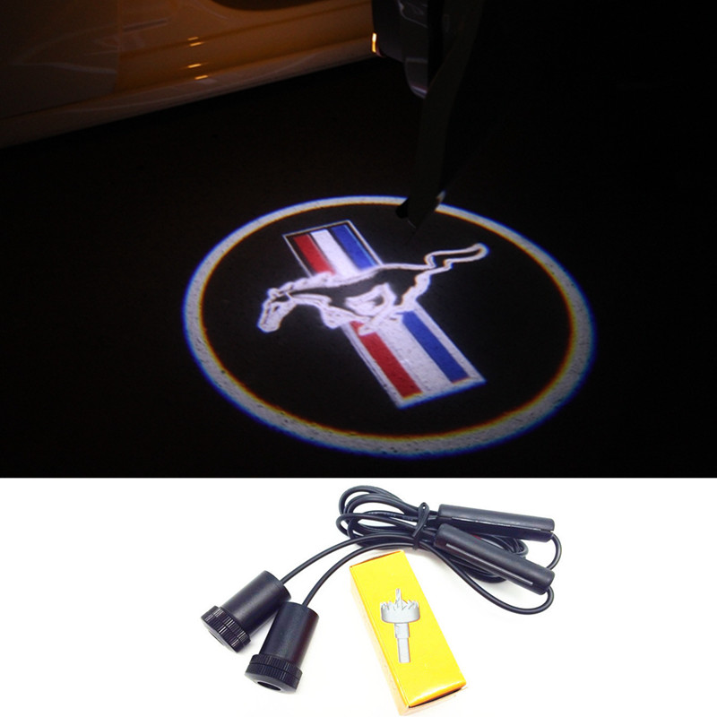 1 Pair LED Car Door Courtesy Laser Projector Logo Ghost Shadow Light for Ford Mustang V6 GT(China (Mainland))