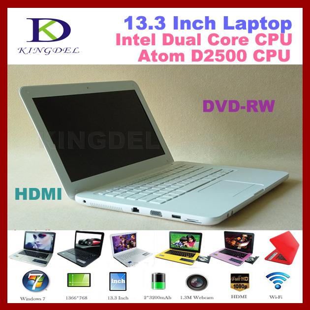New 13 3 Laptop Notebook with Intel Atom N2600 Dual Core Quad Thread CPU 4GB RAM