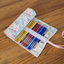 Buy Flower Pen Pencil Case School 36/48/72 Holes Pencil Case Bag Wrap Stationary Roll Brush Pencil Storage Bag Painting for $6.58 in AliExpress store