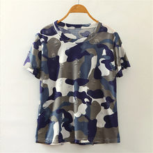 2016 hip hop Summer Fashion Harajuku Style Camouflage T-shirt Female sport casual Tops Short Sleeve hole Casual Women T shirts(China (Mainland))