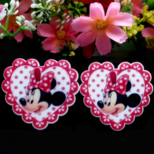 40pcs/Lot 32x35mm Heart Love Minnie Mouse Planar Resin Cabochons Flat Back Hair Bow Center Card Making Craft Embellishments(China (Mainland))