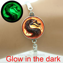 Trendy punk movie jewelry Glass glowing dragon charm bracelet  Mortal Kombat Classic Scorpion Sub Zero Raiden men jewelry OY-92