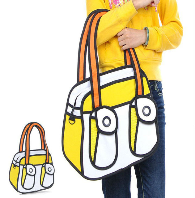 free shipping, cartoon bag 3D/2D, 3D/2D bag, fashion totes bag, 3D/2D design, women's totes bag!
