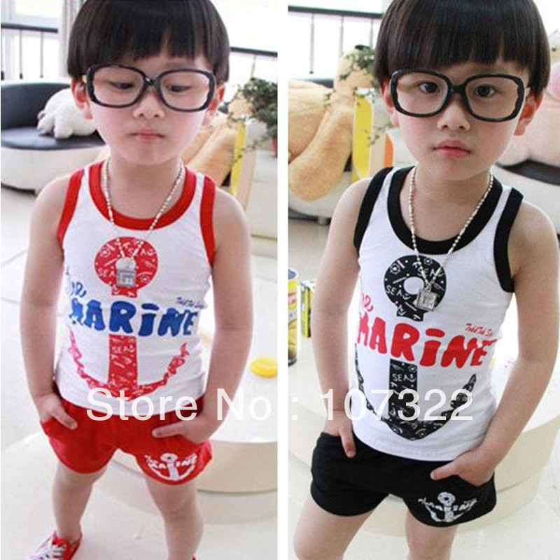 children boy girl clothing sets cotton vest & shorts anchor letters design sports suits black red 5sets/lot 625039 - Locke Ding's store