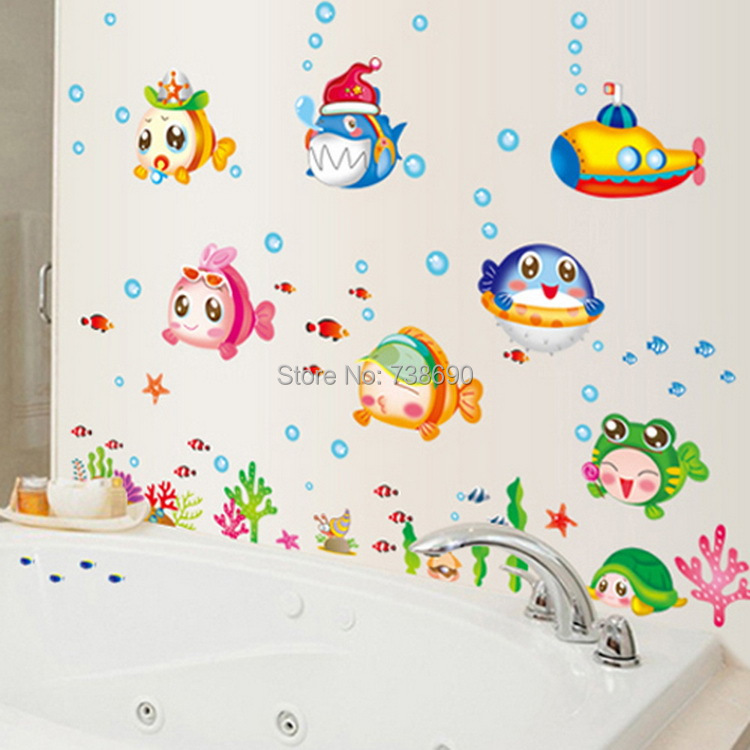 Cartoon Bathroom Wallpaper Cartoon Fish Bathroom Baby