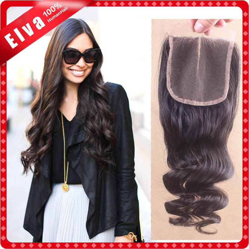 4*4 virgin brazilian lace closure loose wave, free part, Middle part, three part, baby hair, bleached knots, free shipping<br><br>Aliexpress