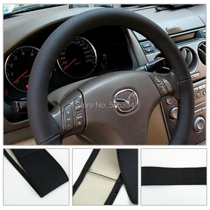 DIY Leather Car Auto Steering Wheel Cover With Needles and Thread Black(China (Mainland))
