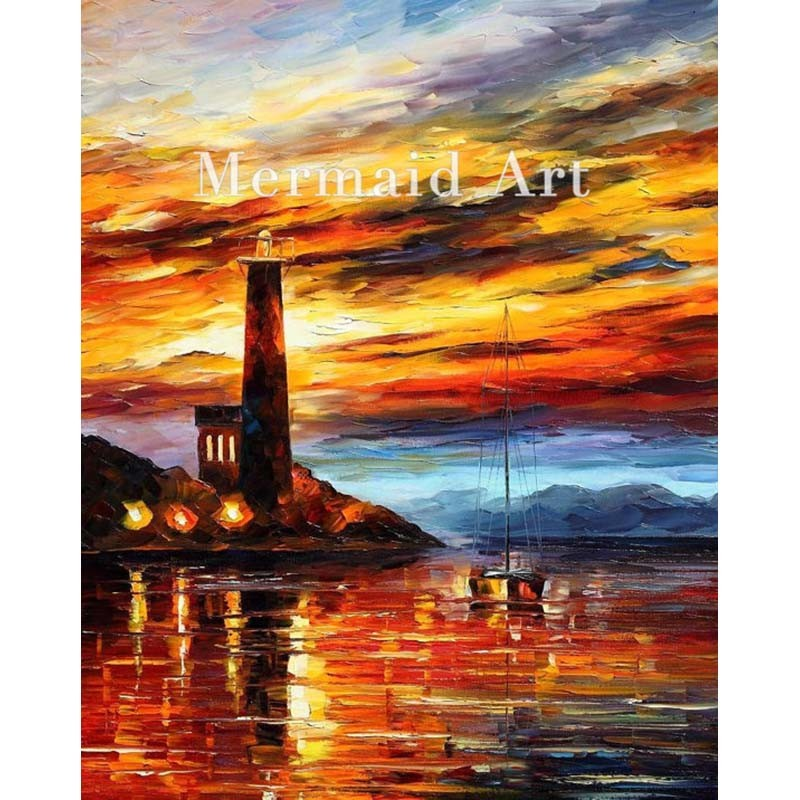 Buy Hand Painted The Lighthouse Landscape Abstract Palette Knife Modern Oil Painting Canvas Wall Living Room Artwork Fine Art cheap