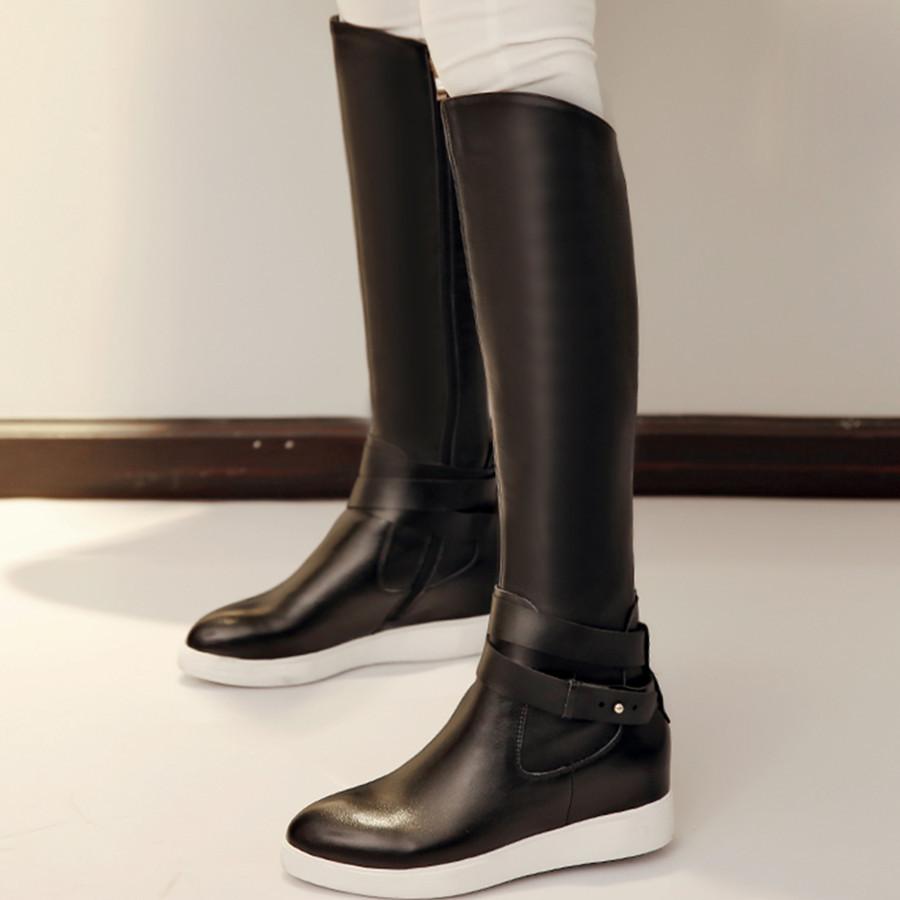 Здесь можно купить  2015 Winter popular height incrasing high heel platform women boots fashion pointed toe solid genuine leather knee high boots  Обувь
