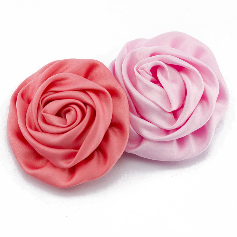 "30pcs/lot 3"" Soft Matte Satin Silk Flowers For Baby Hair Accessories Artificial Rolled Rosette Fabric Flowers For Headbands(China (Mainland))"