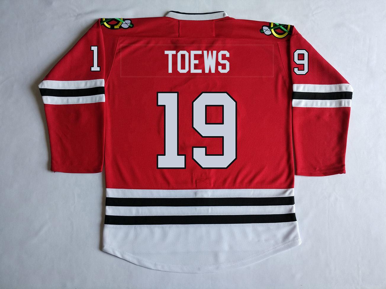 """CHI #19 JONATHAN TOEWS """"C"""" Jersey Kırmızı, Siyah, Yeşil Dikişli Formalar Uzun kollu(China (Mainland))"""