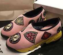 2015 New Fashion Sneakers For Women Embroidered Graffiti Chaussure Femme Platform Mesh Breathable Fashion Sneakers Shoes