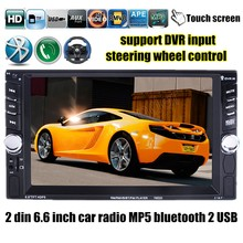 """6.6"""" inch 2 din 2 USB port Car Radio MP5 MP4 video Player Bluetooth USB/TF FM touch screen stereo steering wheel control(China (Mainland))"""