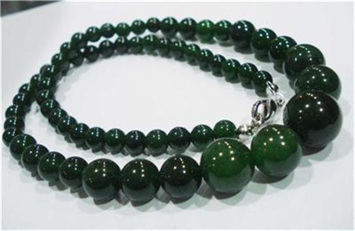 2015 Fashion 6-14mm 100% Natural Emerald Gems Round Bead Necklace Rope Chain Beads Jasper Jewelry Natural Stone (Minimum Order1)(China (Mainland))