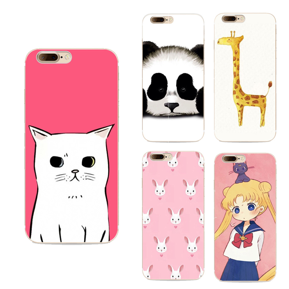 Beautiful Girl cartoon animal cat rabbit panda Avatar design Covers For iphone 7 Plus case soft tpu Cover Fashion Phone Cases(China (Mainland))