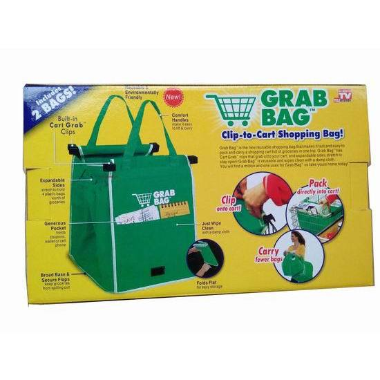 100 boxes/lot 2015 New Grab Bag 2 Pack Reusable Shopping Bag That Clips To Your Cart(China (Mainland))