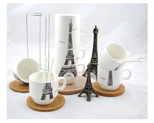 ZAKKA Creative Ceramic Mugs, Four piece/set with Hob,  Home Furnishing cup milk cup ceramic cup, Tower or Panda Laminated cup