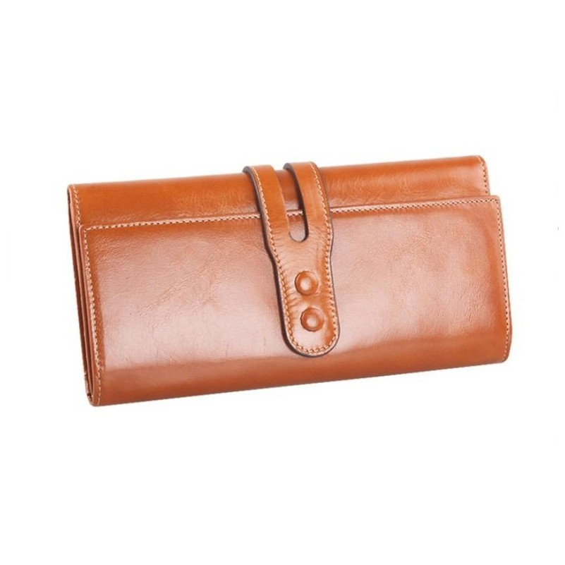 Women's Genuine Leather Wallet 100% Oil Waxing Cowhide Wallet For Women Card Holder Money Clutch Wallet Purse