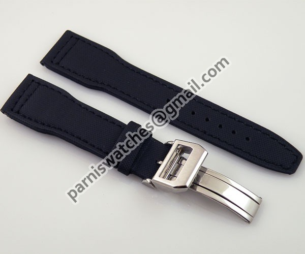 Parnis watch black nylon 22mm genuine leather watchband folding buckle - Station store