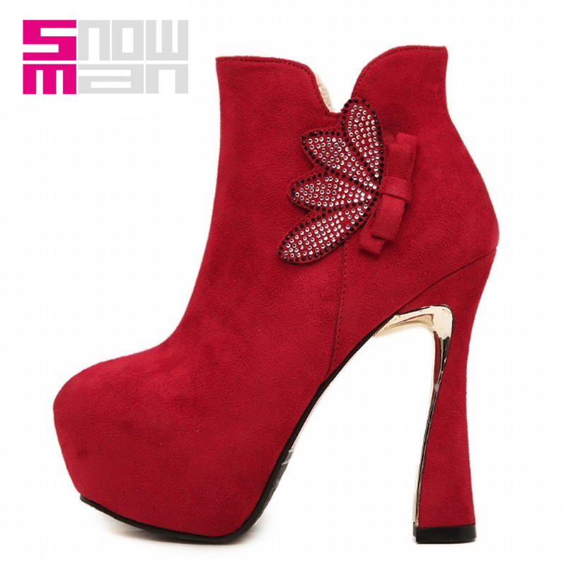 2016 Winter Boots Sexy Women Hoof Super High Heels Rhinestone Bowtie Ankle Boots Thick Platform Shoes Woman Party Wedding Shoes