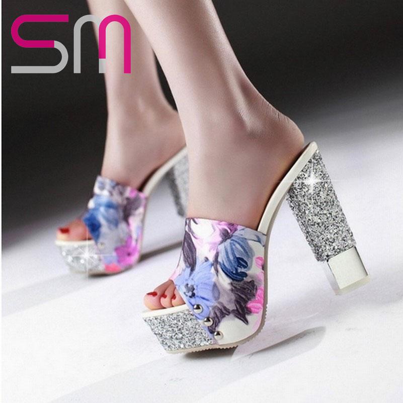 32-43 Flower Zebra Print Glitter Platform Open toe Slides 2015 Patch color Thick High Heels Sandals Summer Shoes Women Sandals