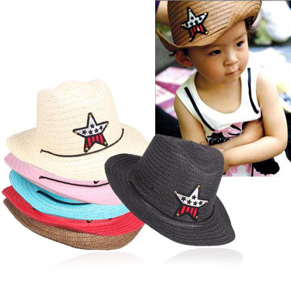 Comfortable City-Boy Children Straw Braid Cowboy Sun Hat Boy Girl Cap Star Applique Topee K5BO(China (Mainland))